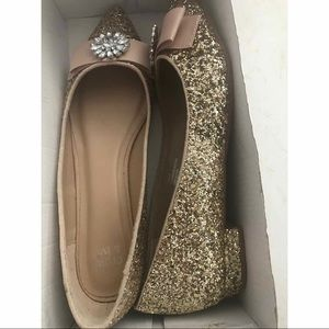 NIB Crown & Ivy Gold Glitter Sparkle Shoes